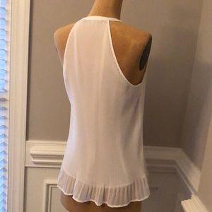 Zara cream pleated sleeveless shirt